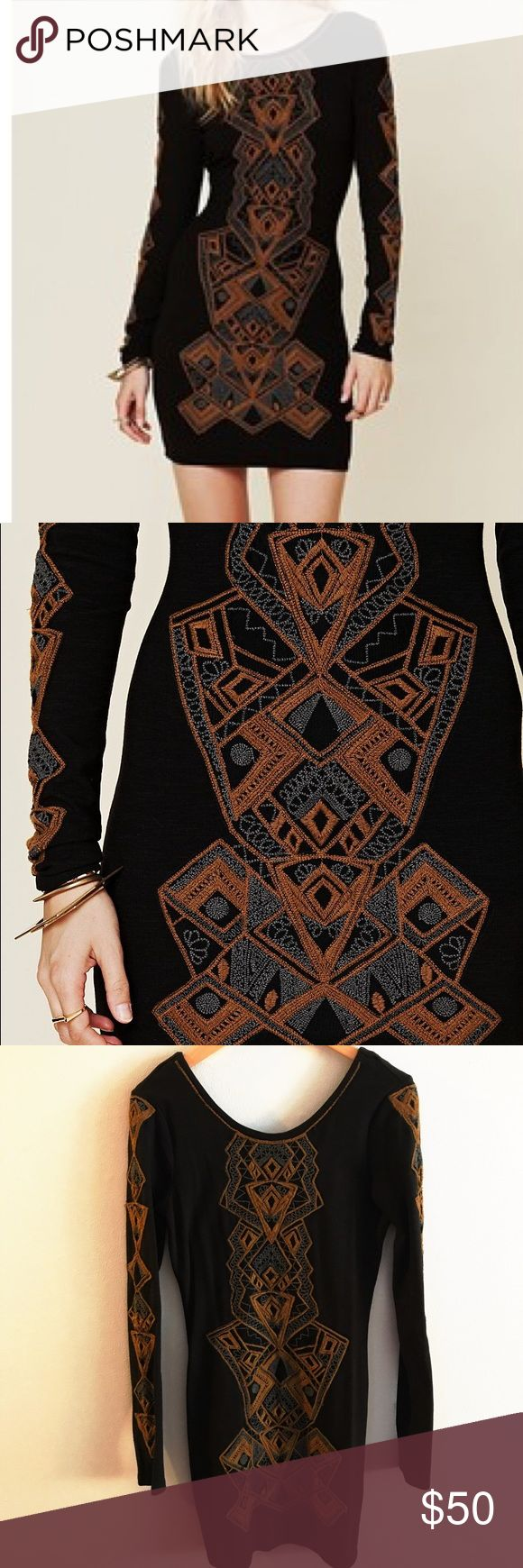 Free People black Aztec bodycon dress Cutest little black long sleeved dress.  Basically new condition. Only worn once. Aztec embroidery on front and sleeves Low open back Free people Size S - bodycon, and thick fabric to help suck it all in Free People Dresses Long Sleeve