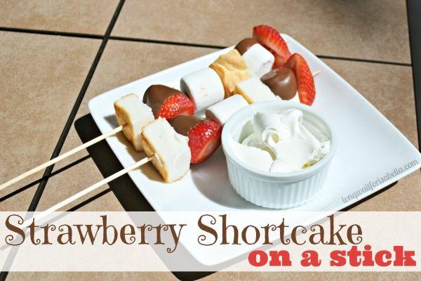 strawberry shortcake on a stick or strawberry shortcake kabob - backyard party food #epicday