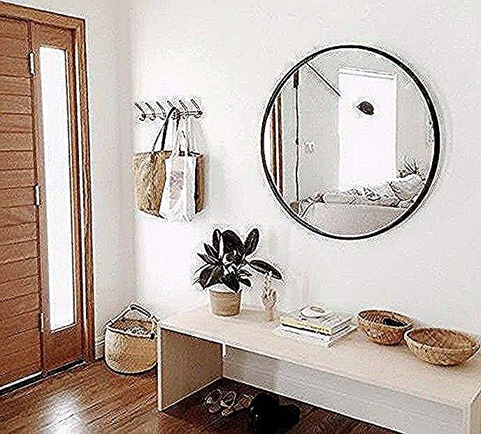 flur einrichten deko flur runder spiegel weiser tisch