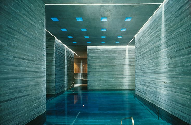 interior of spa complex at Therme Vals, in Vals, Switzerland.  Designed by Peter Zumthor, 1996