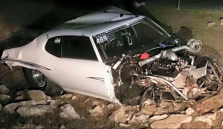 "Street Outlaws' Justin ""Big Chief"" Shearer was involved in a high-speed, two-car crash overnight that destroyed his familiar 1972 Pontiac LeMans known as ""Crow""."