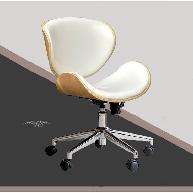 Mid Kembali Kursi Dengan Roda Kastor Putar Eksekutif Meja Kantor Kayu Putih Kulit Kursi Kantor Ergonomis Kursi Konferensi Modern