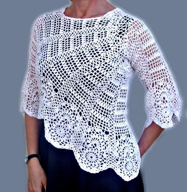 Suéter/blusa de ganchillo de las mujeres