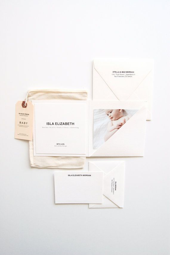 Isla: Baby Announcements & Stationery Set - SO stinkin' precious with the little muslin sack and tag!