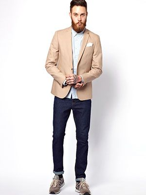 Jacket and blue shirt with jeans and NB