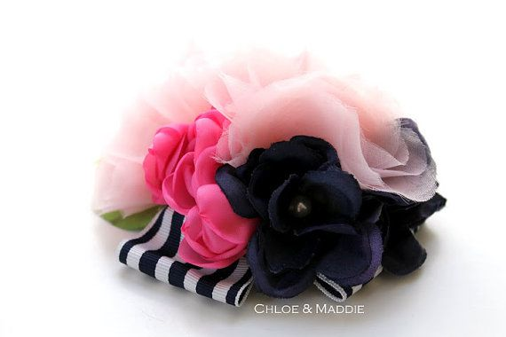 Rosa e blu nautico ispirato clip di capelli, per matrimoni, occasioni speciali, couture. CAITLYN