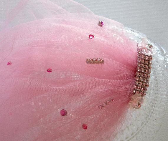 bachelorette veil, bachelorette party veil, bachlorette accent veil, pink trulle veil with accent,  bridal party veil, hen party veil , veil by SuspendedStar on Etsy