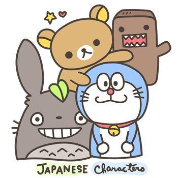 Totoro, Rilakkuma, Doraemon & Domo-Kun<3