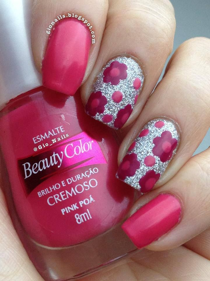 ✝☮✿★ NAILS ✝☯★☮ Love the silver under the flowers, pretty!