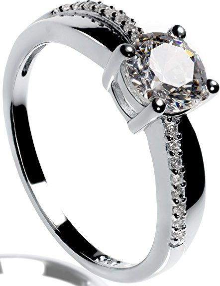 Lars Benz LUXUS Damen-Ring Verlobungsring Silber 925 Swarovski Zirkonia 1,4 Karat 53-mm