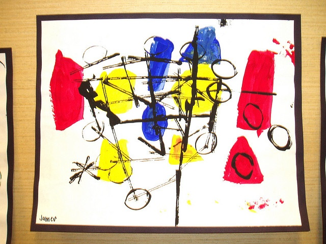 Paint loose basic shapes using primary colors. Print Miro-esque shapes on top using cardboard and toilet paper rolls in black paint.