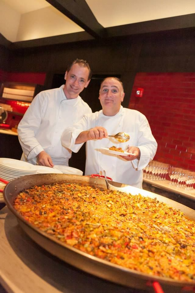 """A tip from chef Jose Andres to make your next paella perfect: """"Do not stir the rice too much. This is very important! Once you add the rice, just stir it for a little at the beginning, but then leave it be. Allow the liquid to cook off until the golden brown crust starts to form on the bottom of the pan- this is soccarat. You will know this is forming when you hear the crackling of the rice during the last few minutes of cooking. The soccarat is a very important for a perfect paella."""""""