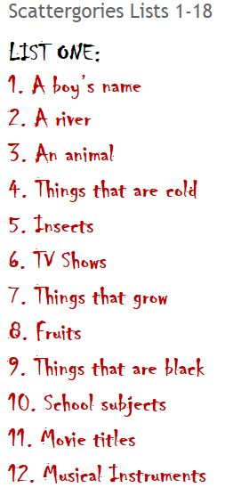 Critical image pertaining to scattergories lists printable