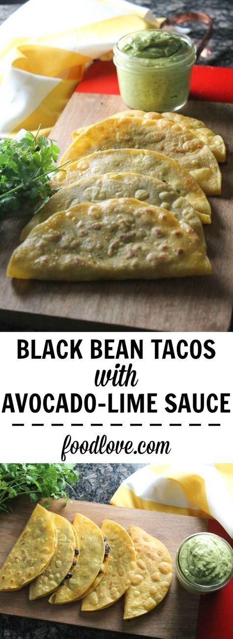 Knusprige schwarze Bohnen-Tacos mit Avocado-Limetten-Sauce   – laura rojas