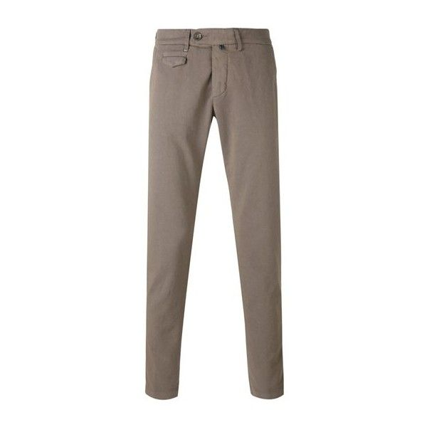 Re-HasH Flap Pocket Trousers (€165) ❤ liked on Polyvore featuring men's fashion, men's clothing, men's pants, men's casual pants, beige and mens elastic waist pants