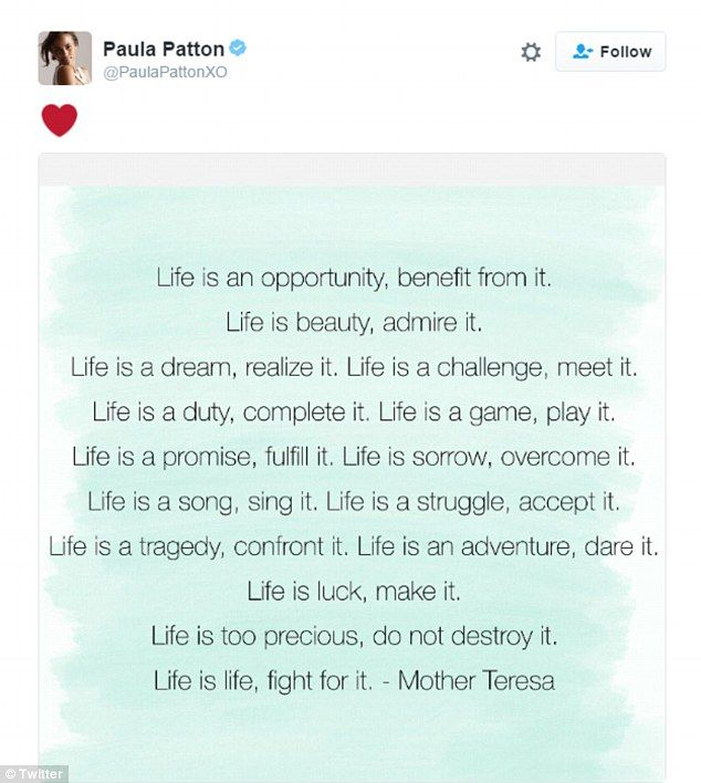 Paula Patton, former daughter-in-law and mother of his grandson Julian, shared this poem from Mother Teresa on her Instagram Tuesday evening along with a heart symbol