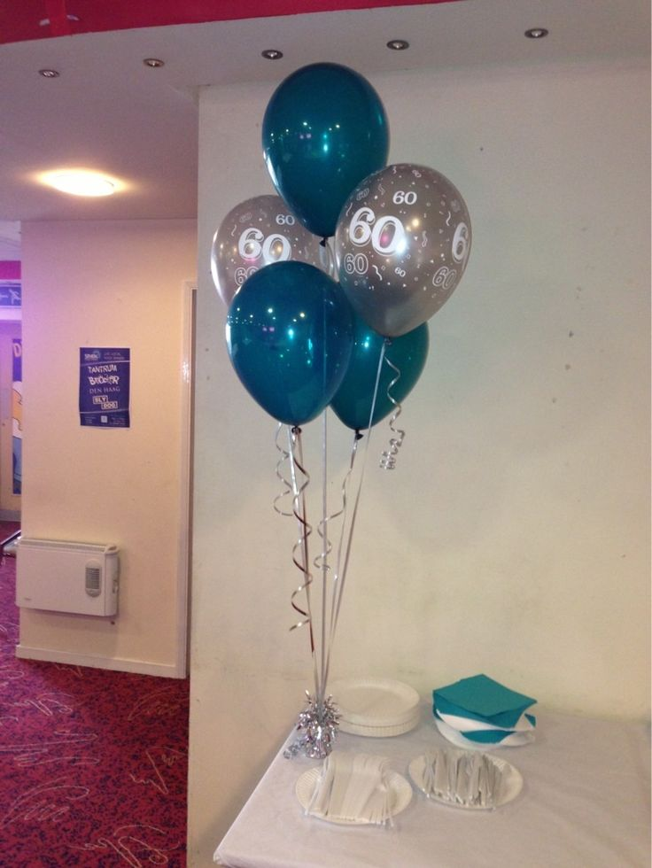 Silver 60th Birthday balloons with teal xx | Balloon ...