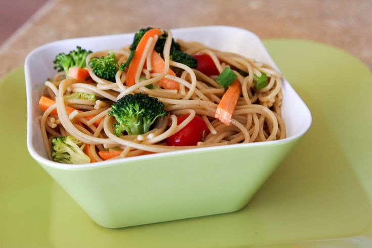 healthy noodle & vegetable salad. could be made with gluten-free noodles.