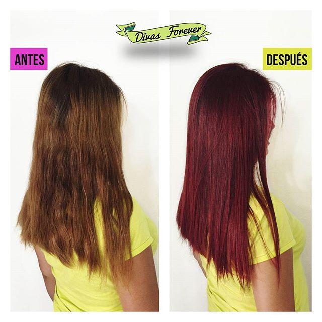 Nuestra @hey_musa78 le cambio el look a la Coté y dejo su cabello #onfire #redhair #redhairdontcare #beforeandafter #firehair #newhair