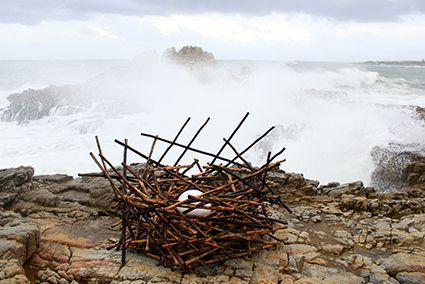 Nest. Sculpture made from wood for the Sculptures on the Cliff exhibition, Hermanus, Western Cape, South Africa. artist; Strijdom van der Merwe. www.strijdom.com