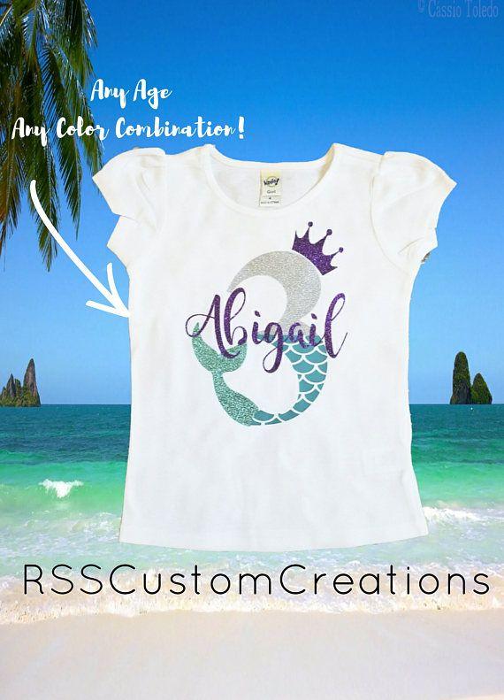 Mermaid Birthday Shirt 3rd Little Princess Mermom Mermaidbirthday