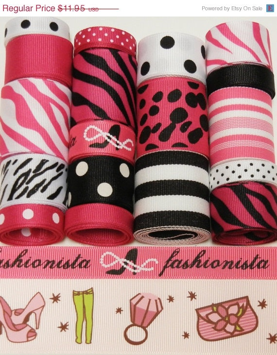 20 OFF SALE 19 Yd Fashionista Ribbon Lot  by HairbowSuppliesEtc, $9.56