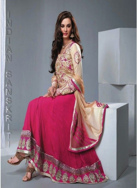 Magnificient fushia pink & gold georgette based #anarkali with fully embroidered yoke