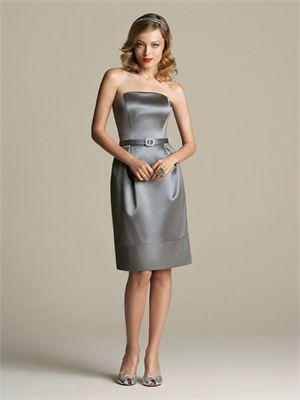 Knee-length Strapless With Belt Grey Bridesmaid Dress BD0227
