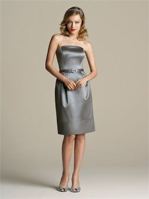 Knee-length Strapless With Belt Grey Bridesmaid Dress BD0227