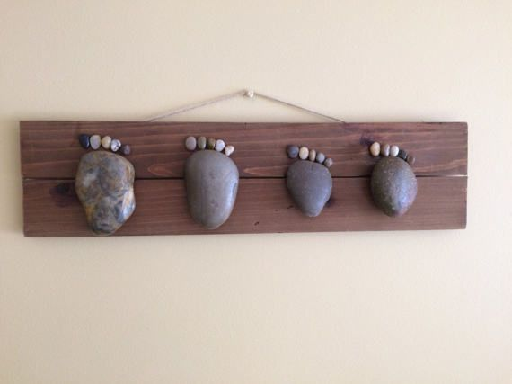 Rock Feet Family of Four Wall Hanging Mothers Day by AviatrixCo