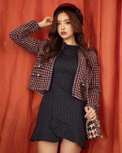 Flounce Hem Pinstripe Sheath Dress CHLO.D.MANON | #chic #pinstripe #dress #koreanfashion #kstyle #kfashion #falltrend #seoul