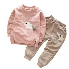 Ropa para niños 2016 Otoño/Invierno Del Bebé Muchachas de Los Muchachos de la Historieta Elefante Algodón Set Niños Juegos de Ropa para Niños T-shirt + pantalones Traje V2(China (Mainland))