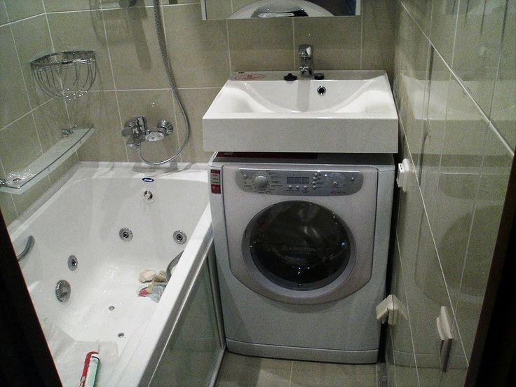 Установка стиральной машины под раковиной в ванной комнате ...