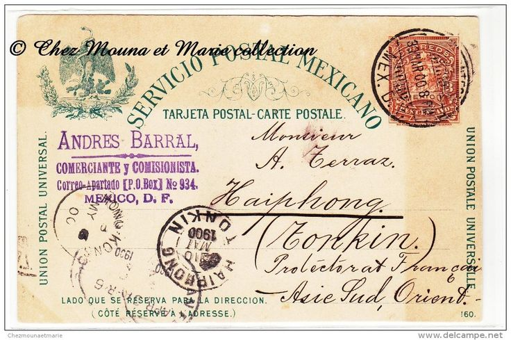 MEXIQUE TONKIN INDOCHINE 1900 - MEXICO HAIPHONG - CAD HONG KONG - GRIFFE BARRAL COMMERCANT - ENTIER POSTAL 3 CENTAVOS