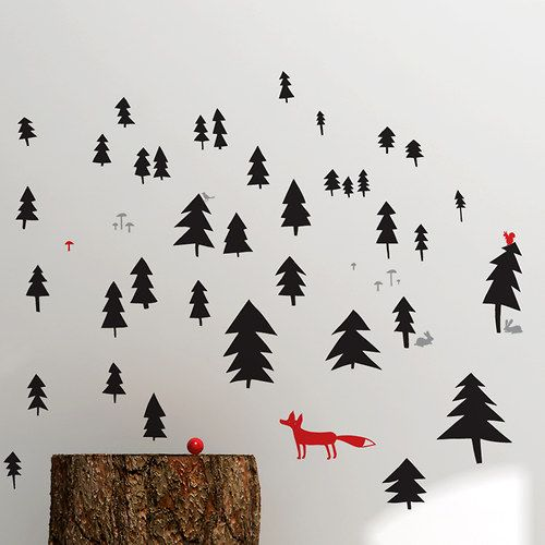 Kids room - I know this is wallpaper but this could probably inspire some sharpie art DIY