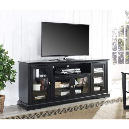 "Walker Edison 70"""" Black Wood Highboy TV Stand"