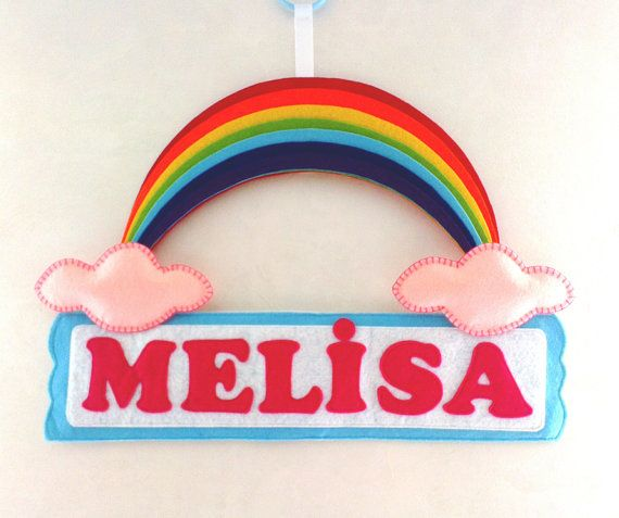 Rainbow Felt Name Banner for Kids Room, Nusery Door Sign, Kids door Sign on Etsy, $30.00