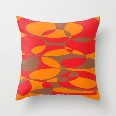 Red,orange and brown elliptical design Throw Pillow cover $20.00