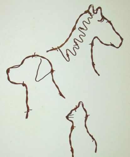 Barbed wire Horse, Dog, and cat rustic farm animal country wall art decor. For the animal lovers! This was a special order request. I liked it so much, I made more. $12.95 http://www.ebay.com/itm/Barbed-wire-Horse-Dog-and-cat-rustic-farm-animal-country-wall-art-decor-/261932792883?ssPageName=STRK:MESE:IT
