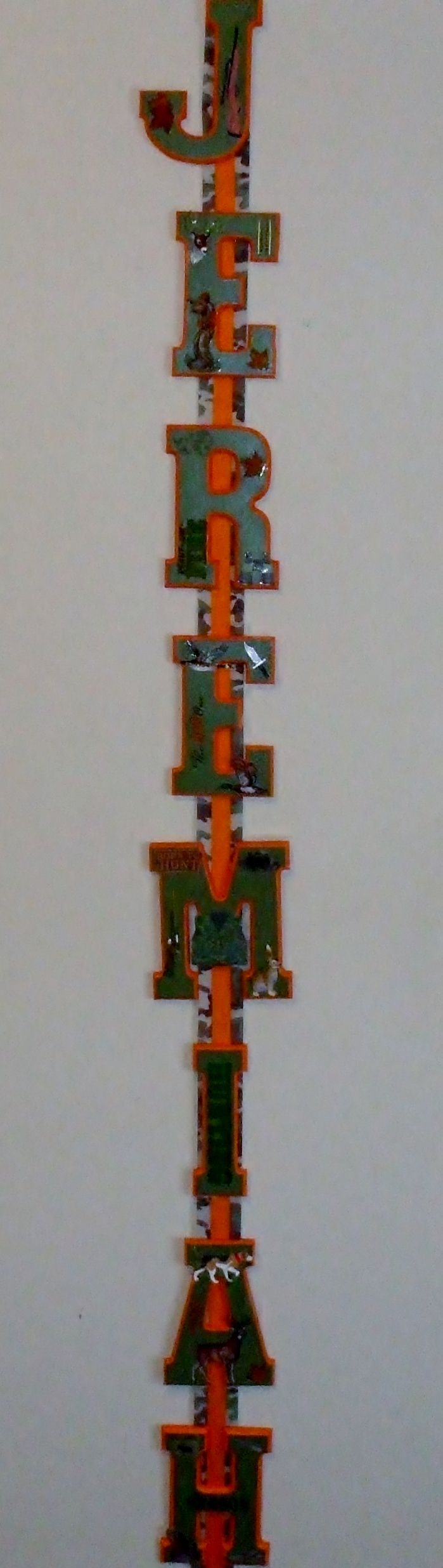 "Jeremiah:  5"" wood letters painted camo green with hunter themed accents hung on grosgrain ribbon"