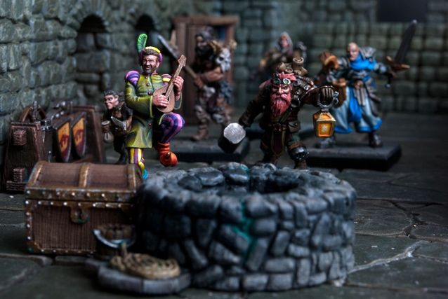 Gunn, the Dwarf Engineer accompanied by a rather cheeky add in for the shot of Ronaldo the Bard from the Kings of War Kickstarter, Ally McSween hiding behind Ronaldo while Orlaf and Ibrahim follow up from the rear.