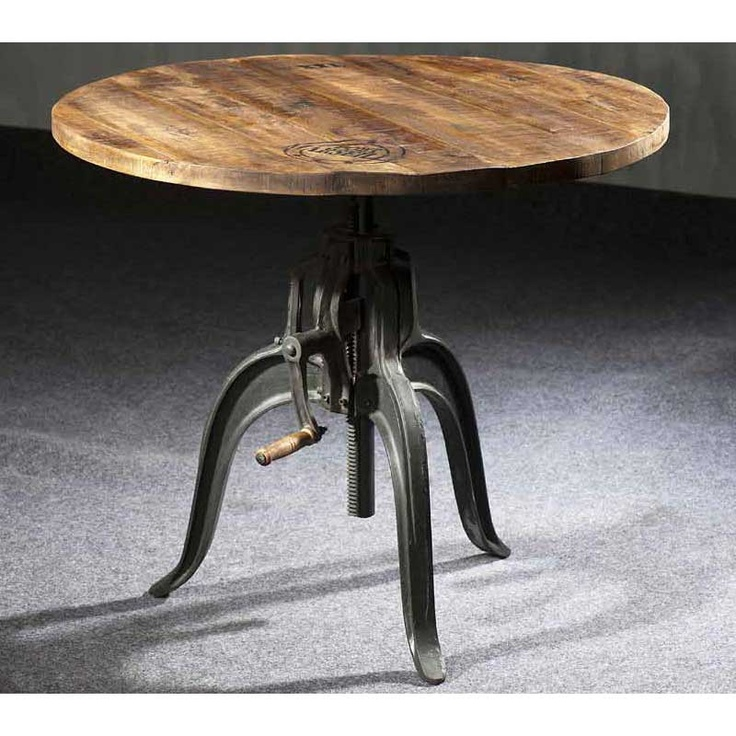 Table de salle manger ronde r haussable style industriel for Table salle a manger ronde