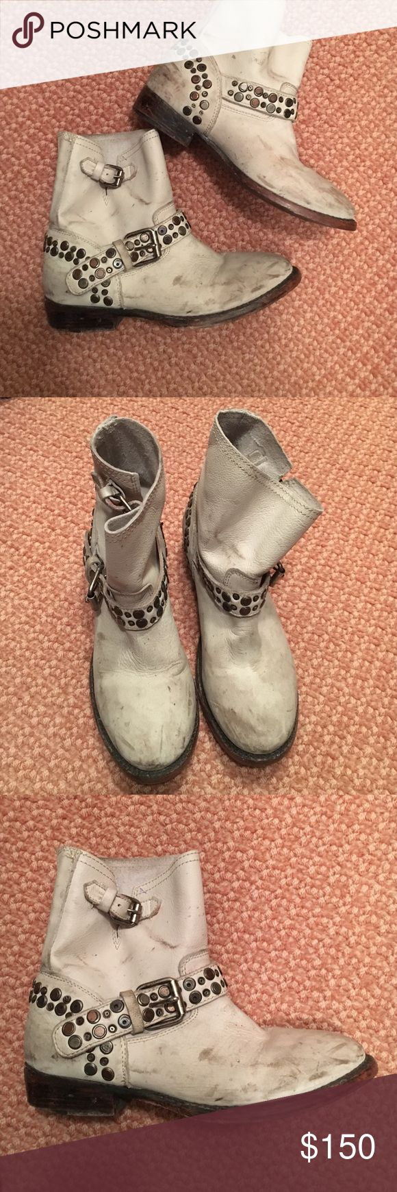 Short Ash Boots White studded and distressed Ash short boots Ash Shoes Combat & Moto Boots