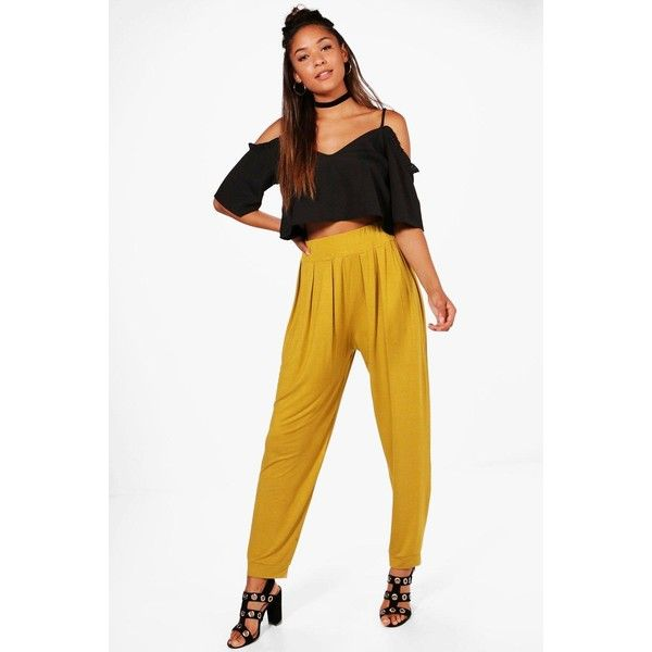 Boohoo Lola India Pleat Front jersey Hareem Trouser ($24) ❤ liked on Polyvore featuring pants