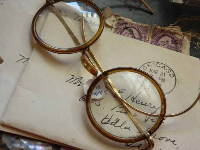 old glasses and letter