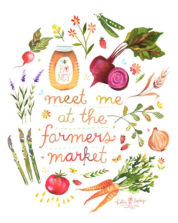 Farmers Market      vertical print por thewheatfield en Etsy, $18.00
