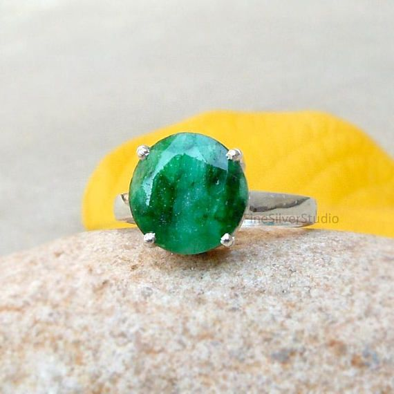 Beautiful Natural Emerald Ring 925 Sterling Silver Ring May #emerald #rings #birthstone #giftsforher #round #solitaire