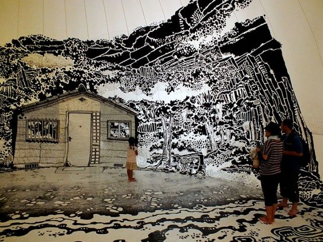 Abandoned Gymnasium Turned Into Art with Permanent Markers