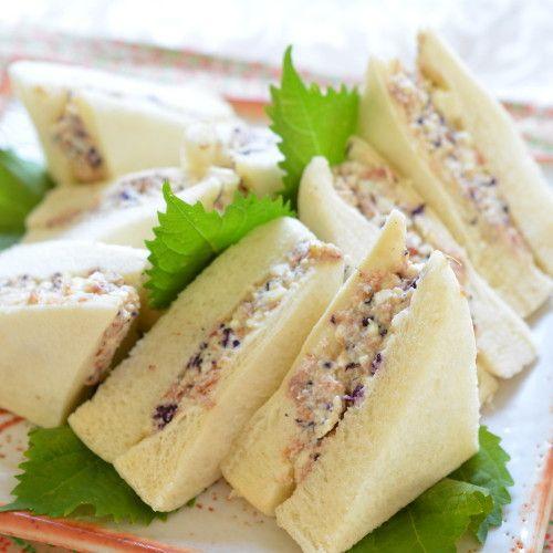 脂質が高いサンドイッチをヘルシーに!マヨネーズ不使用でも美味◎!鰹節が豆腐の水分を吸うため、水切りの必要なし。