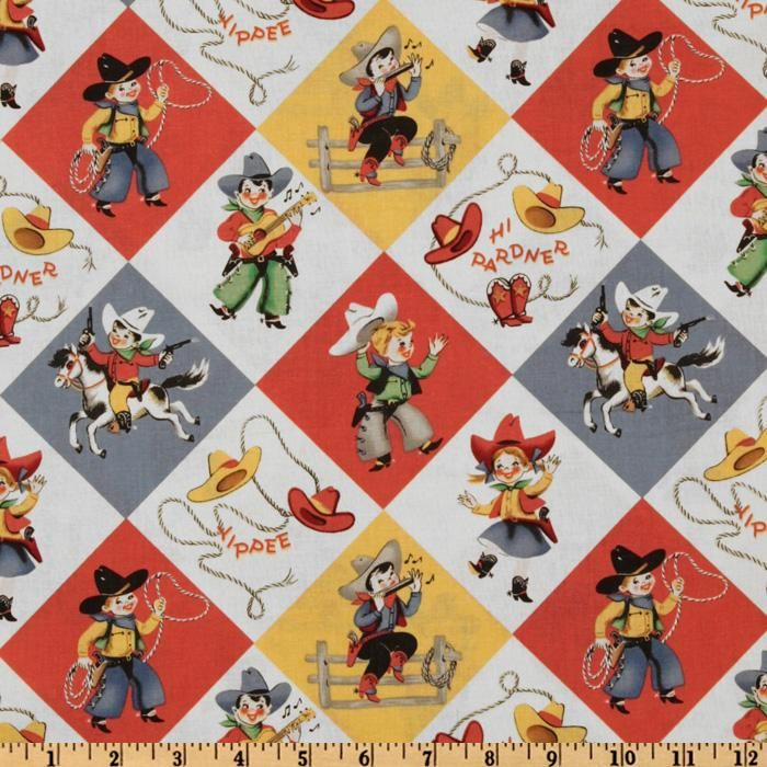 Designed for Michael Miller fabrics, this cotton print fabric is perfect for quilting, apparel, crafts, and home decor items. Colors include white, shades of red, yellow, blue, green, and brown.